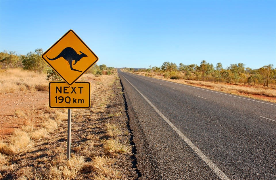Australia with a kangaroo warning sign, typical of the Outback