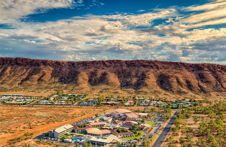 Aerial view of the secluded resort at Crowne Plaza Alice Springs Lasseters, Red Centre, Northern Territory, Australia