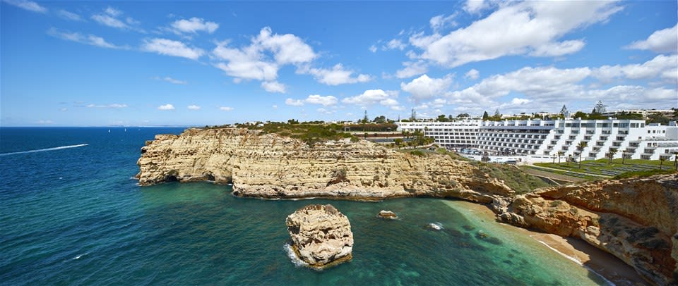 Stylish Tivoli Carvoeiro hotel perched on the cliffs overlooking the magnificent Atlantic Ocean in Algarve Potugal