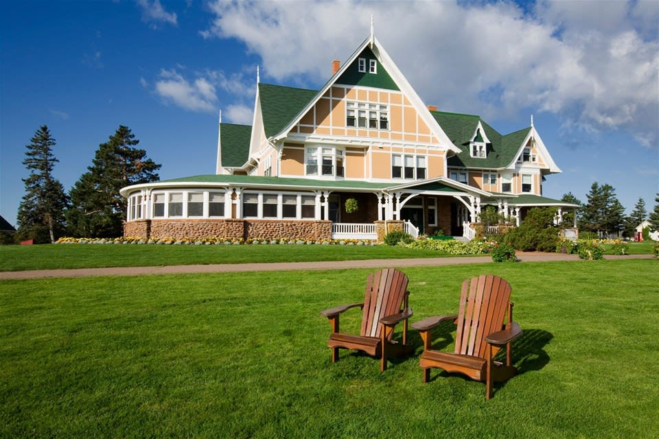 Front entrance to elegant Queen Anne-style Dalvay by the Sea, set in large green gardens, Prince Edward Island, Canada