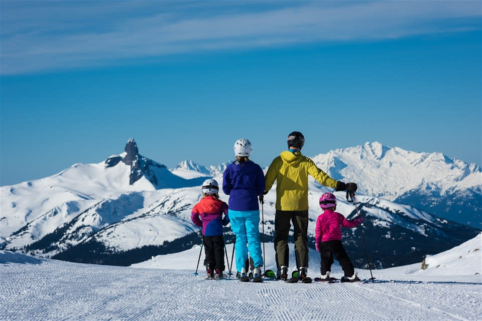 A family of skiers marvel at the mountainous landscape ahead of them, British Columbia, Canada