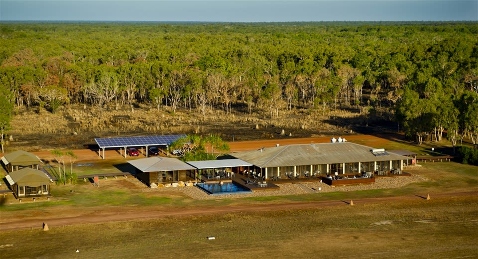Aerial view of Wildman Wilderness Lodge surrounded by Mary River Wetlands, Northern Territory, Australia
