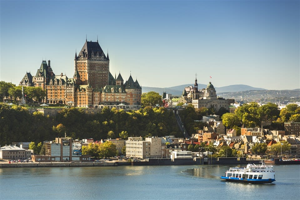 Quebec City, Canada skyline with clear sky and view of the historic Fairmont hotel